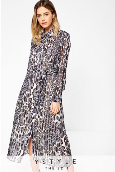 Fern Shirt Dress in Animal Print