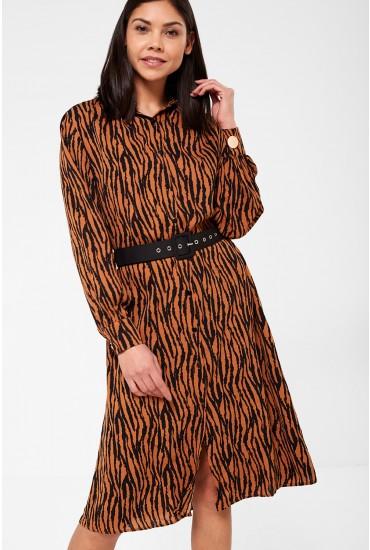 Libby Shirt Dress in Tiger Print