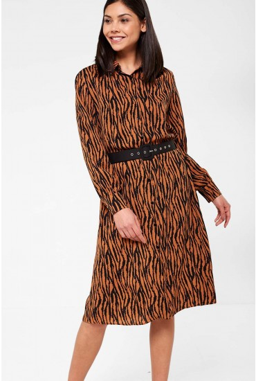 Libby Shirt Dress in Tiger Print