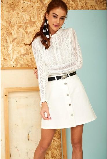 Sunny Short Denim Skirt in White