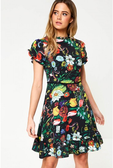 Lucille Short Dress in Black Floral