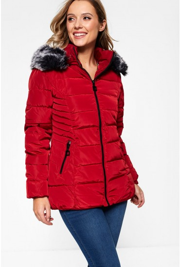 Mackenzie Parka Jacket in Red