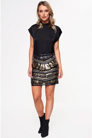 Carol Short Sequin Skirt in Gold