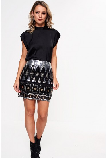 Carol Short Sequin Skirt in Silver