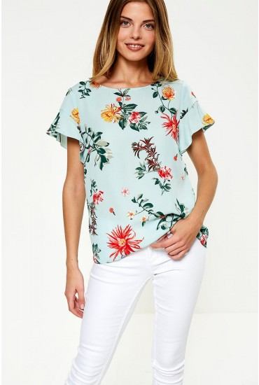 Lucy Short Sleeve Floral Print Top in Mint