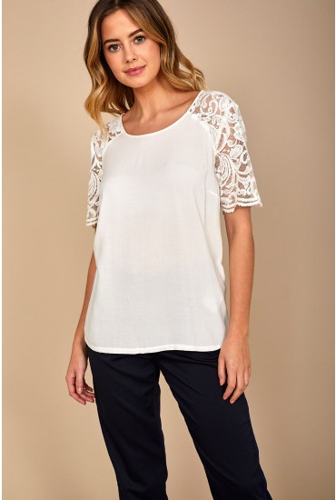 Haze Short Sleeve Lace Top in White