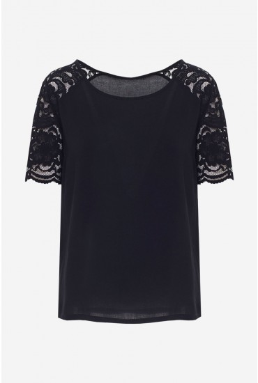Haze Short Sleeve Lace Top in Black