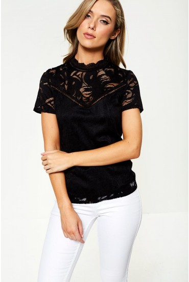 Stasia Short Sleeve Lace Top in Black