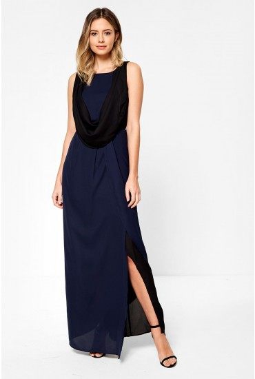 Blocky Sleeveless Maxi Dress in Black