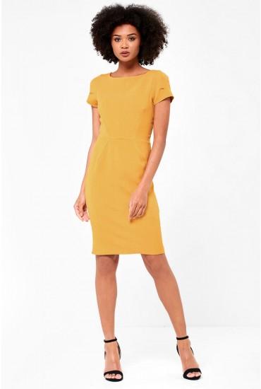 Anna Short Sleeve Occasion Midi Dress in Mustard
