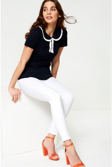 Anni Short Sleeve Polo Top in Navy