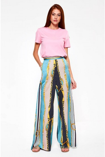 Ghad Wide Leg Trousers in Chain Print