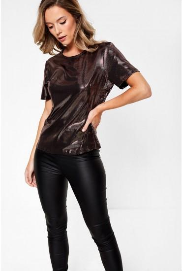 Lana Short Sleeve Top in Metallic Rose