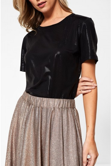 Lana Short Sleeve Top in Metallic Black