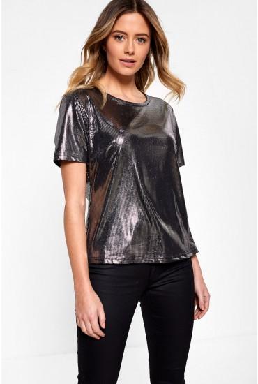 Lana Short Sleeve Top in Metallic Silver