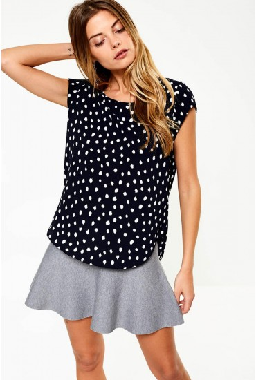 Vic Short Sleeve Top in Navy