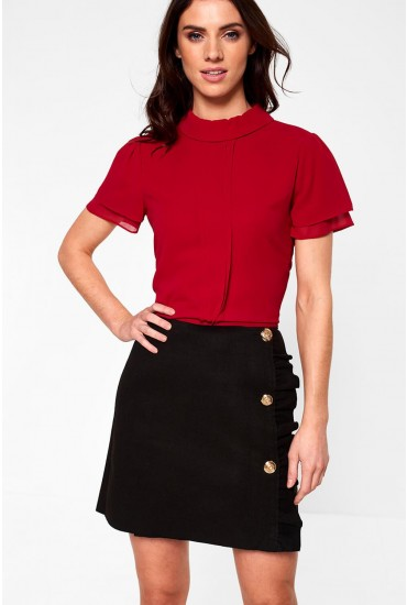 Marie Short Sleeve Top in Red