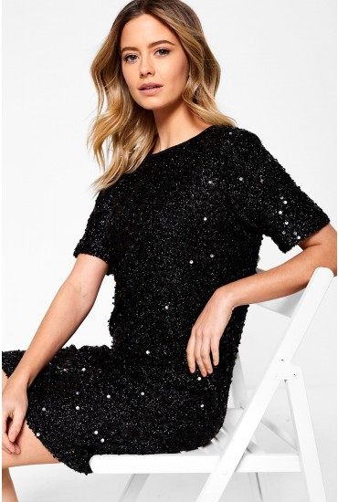Cleo Short Sleeves Sequin Dress in Black