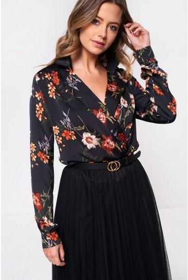 Alina Floral Print Bodysuit in Navy