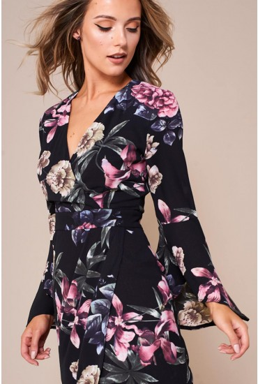 Indie Floral Wrap Maxi Dress with Flute Sleeve in Black
