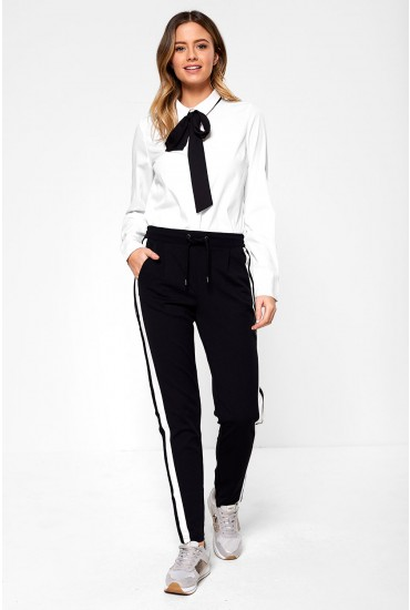 Violet Side Stripe Jersey Pants in Black
