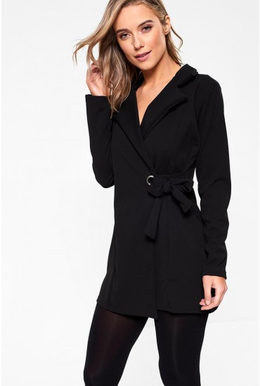 Carol Side Tie Blazer in Black
