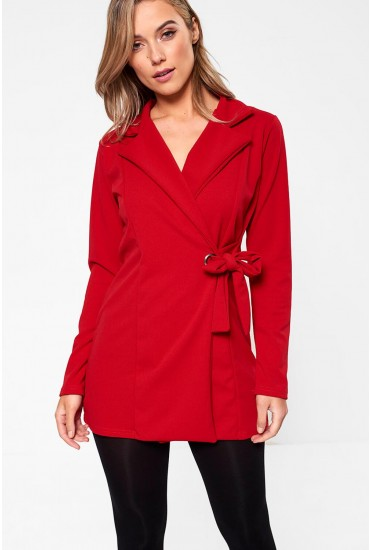 Carol Side Tie Blazer in Red