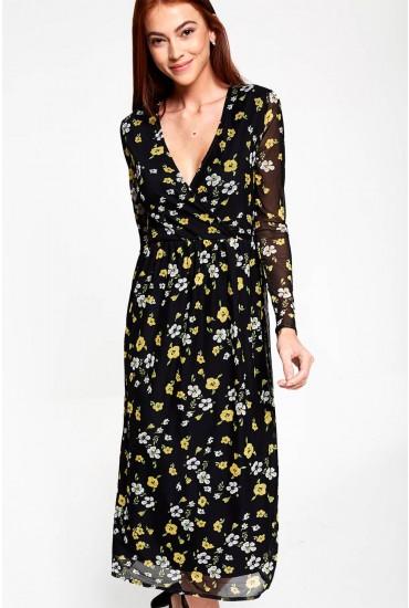 Silvi V Neck Floral Midi Dress in Black