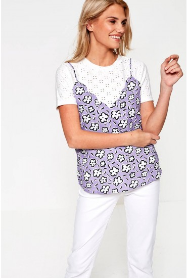 Sirena Floral Top in Lilac