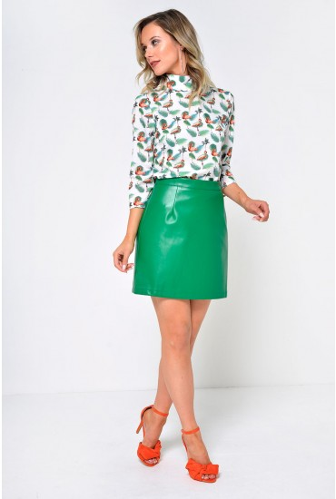 Loreta Leather Look Mini Skirt in Green