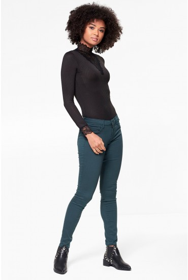 Rain Regular Skinny Jeans in Pine Green