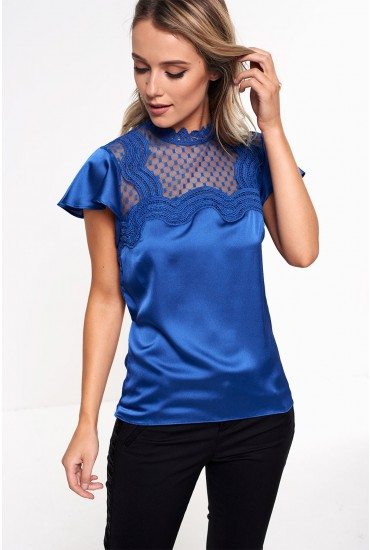 Alicia Sleeveless Frill Top in Blue