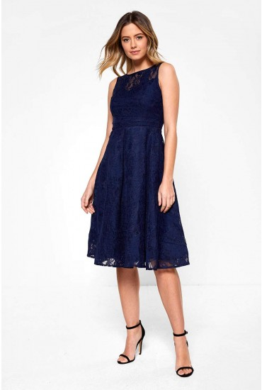 Farah Sleeveless Skater Dress in Navy
