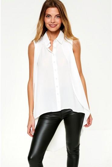 Zaniyah Sleeveless Top with Dip Hem in White