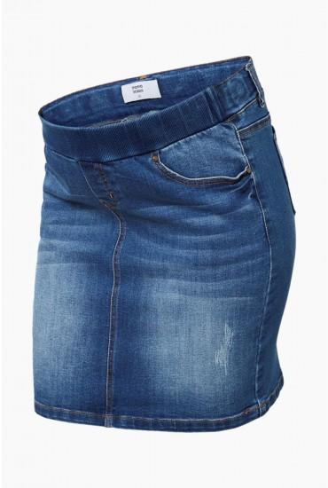Montego Maternity Slim Rib Skirt in Light Blue Denim