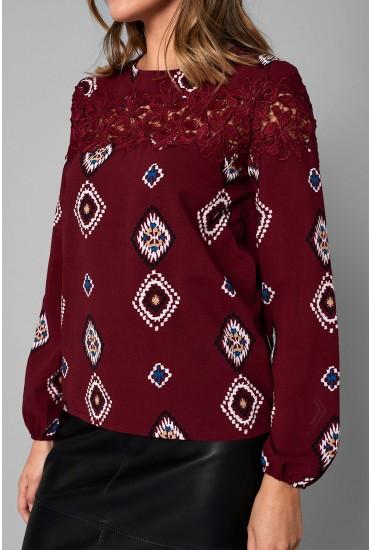 Annie Crochet Panel Top in Burgundy