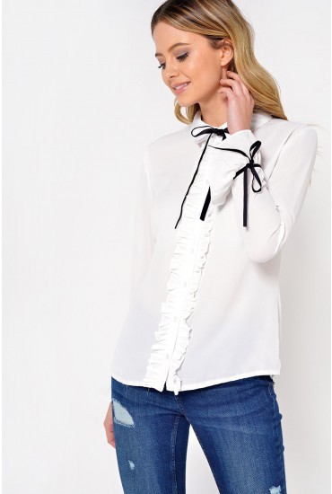 Bryn Ruffle and Bow Blouse in Ivory