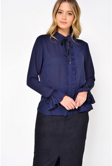 Bryn Ruffle and Bow Blouse in Navy