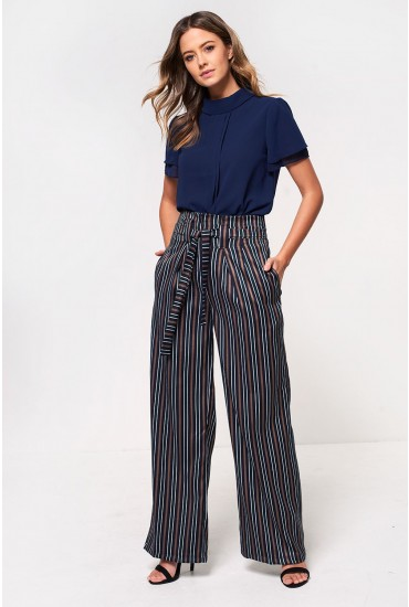 Will Belted Wide Leg Trousers in Navy Stripe