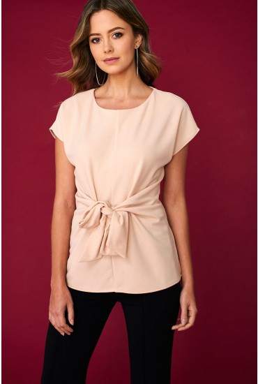 Ellie Knot Front Occasion Top in Cream