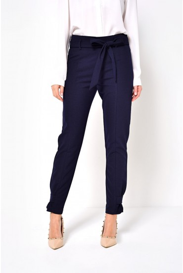 Kim Belted Cigaret Pants in Navy