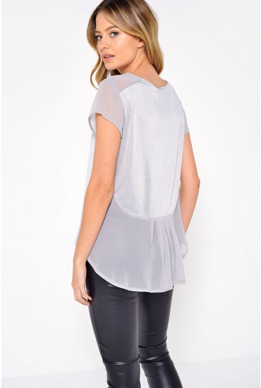 Sandy Shimmer Tee in Silver
