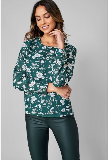 Ruby Long Sleeve Top in Green Floral Print