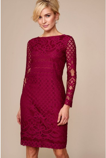 Kath Lace Fitted Dress in Magenta