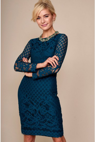 Kath Lace Fitted Dress in Teal
