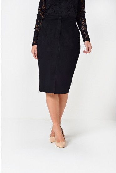 Victoria Faux Suede Pencil Skirt in Black