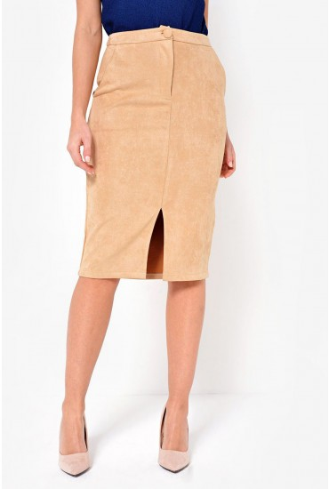 Victoria Faux Suede Pencil Skirt in Camel
