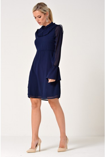 Cindy Frill Sleeve A-LIne Dress in Navy
