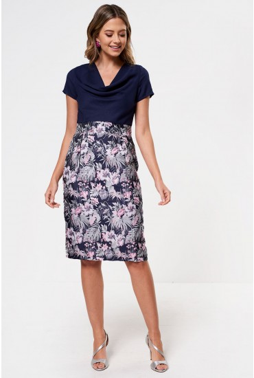 Harlow 2 in 1 Dress in Navy and Pink Print