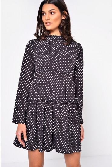 Lynsey Polka Dot Mini Dress in Black